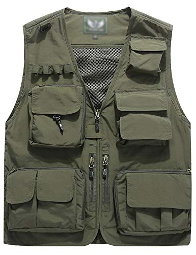 Flygo Men's Casual Lightweight Outdoor Travel Fishing Vest Jacket Multi Pockets (X-Large, Army Green)