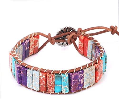 KEEBON Pulsera con Cuentas Hecho a Mano Multicolor Weave Bangle Cuerda de Cuero Pulsera Rectángulo Turquesa para Mujer Joyería Regalo (Color : B)