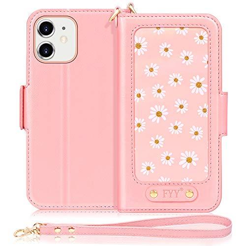 FYY Funda para iPhone 12 Mini, [Función Soporte] Flip Funda Cartera Libro Piel PU con [Tarjetera] [Correa de muñeca] [Bolsillo para Apuntes]para iPhone 12 Mini 5.4 Pulgadas 2020-Rosa