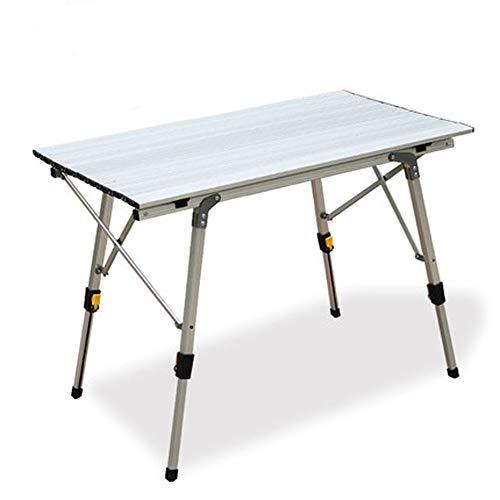 Outdoor Klappbarer Tragbarer Picknick Campingtisch, höhenverstellbarer Aluminium-Tisch, Roll-Up-Tischplatte Mesh-Schicht, für Camping, Strand, Hinterhöfe, Grill, Party
