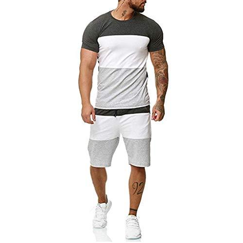 SIOPEW Herren Jogginganzug Sportanzug 2-Teiliges Outfit Sport Set Kurzarm StreifenspleißEn Pullover Sommer Freizeit Freizeit Kurze DüNne Sets