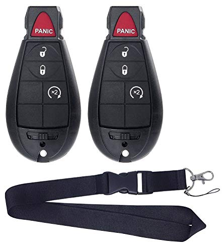 JalopyTrade Pair New Remote for 2009-2012 Dodge RAM 1500 2500 3500 Pickup Remote Start KEYLESS Remote Key FOB FOBIK + ONE Free Lanyard (2-DO-BL-LY)
