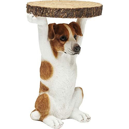 Kare Design Beistelltisch Animal Ms Jack, Ø33cm, kleiner, runder Hund Couchtisch, Holzoptik, Tierfigur als ausgefallener Wohnzimmertisch (H/B/T) 52x35x33cm
