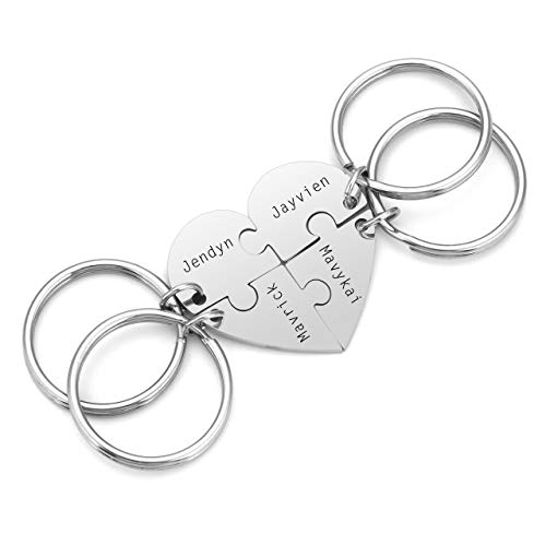 PiercingJ 4pcs Personalized Custom Initial Name Heart Puzzle Keychain Stainless Steel Matching Family Best Friends BFF Jigsaw Piece Pendant Stitching Key Ring Soul Sister Gift