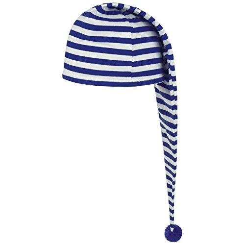 Lipodo Schlafmütze blau weiß gestreift (56 cm lang) - Damen und Herren - Nachthaube aus Baumwolle - Bommelmütze One Size (53-60 cm) - Nachtmütze mit Bommel - Zipfelmütze zum Schlafen für die Nacht