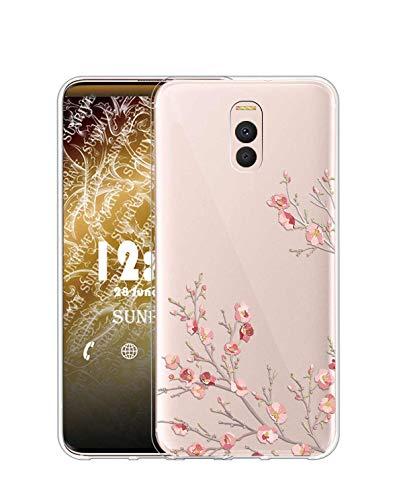 Sunrive Funda para Meizu M6 Note, Silicona Slim Fit Gel Transparente Carcasa Case Bumper de Impactos y Anti-Arañazos Espalda Cover(TPU Flor)