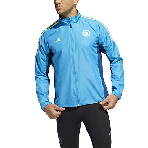 adidas 2019 Men's Boston Marathon Celebration Jacket (Large, Shock Cyan)