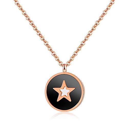 Burenqi Vintage Hollow Star Colgante Collares para Mujer Rose Gold Color con Cadena extendida Mujer Ladies Jewelry, Negro