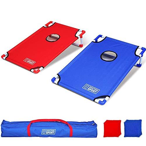 Dr. Sport Doppel Cornhole Set Blau-Rot Spiel in Trage-Tasche - 8 Bean Kissen - 6 kg - USA Wurfspiel - Komplett - Indoor und Outdoor