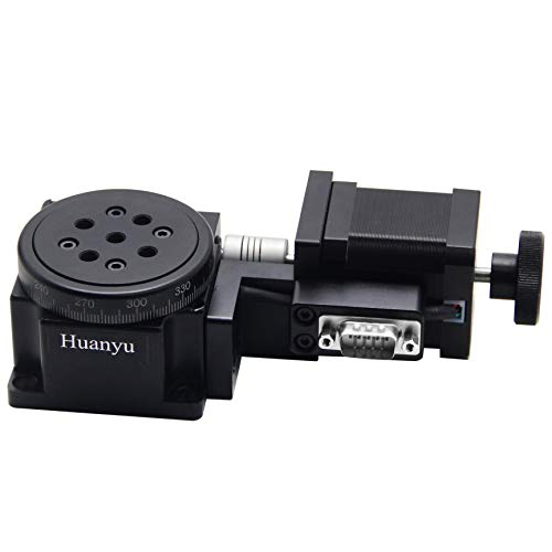 Huanyu Optical Rotating Platform φ60mm Electric Motorized 360° Rotation Stage High Precision min 18″ with Scale Worm Gear Anodized Surface