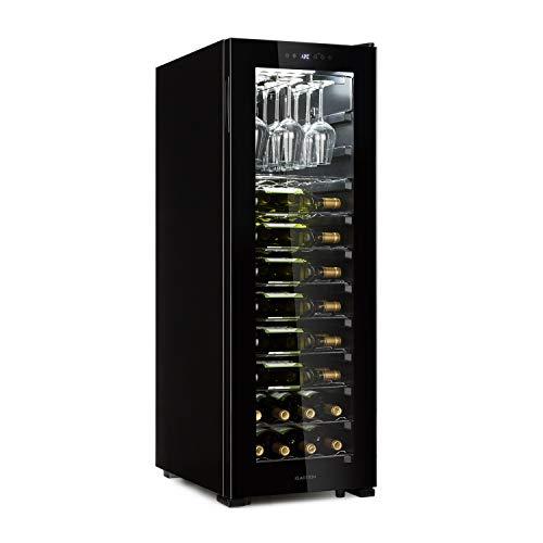 Klarstein Bellevin 62 Weinkühlschrank - Kompressor, 173 Liter, 56 Flaschen, 1 Kühlzone für 5-20 °C, Energieeffizienzklasse A, Weinglasregal bis 15 Gläser, 10 Einschübe, Glastür, schwarz