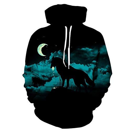 Mr.BaoLong&Miss.GO Herrenpullover Wolf Print Sweater Hooded Sports Sweater Herren Sweatshirt Hoodie Top