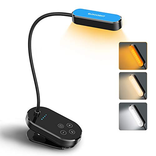 Glocusent 16 LEDs Clipon Book Light Rechargeable Reading Light with 3 Color Modes amp 5 Adjustable Brightness Levels LongLasting Small amp Lightweight Perfect for Reading in Bed in Car amp in Office