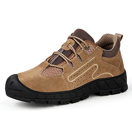 HOUJIA Zapatos de Trabajo,Caqui,36-46 Zapatos de Seguridad para Hombres Botas de Trabajo con Punta de Acero Zapatos de Trabajo Impermeables Antideslizantes para construcción al Aire Libre,no resbalan