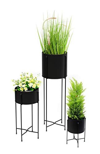 3PC Tall Contemporary Indoor & Outdoor Flower Plant Pot Holders & Hairpin Stands - BLACK