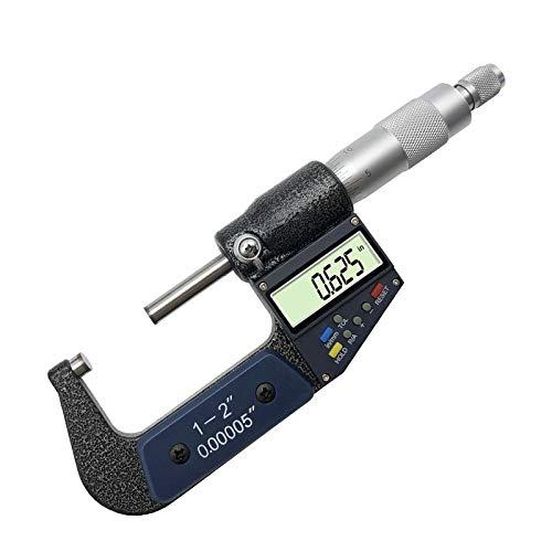 Yongenee 0-1 Escala / 1-2' Digital micrómetro electrónico Fuera Micrómetros multifunción LCD Vernier de Espesor Herramienta (Specification : 0 1 Inch)