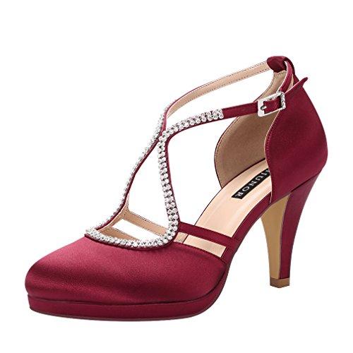 ERIJUNOR E0260D Women Comfort Low Heel Closed-Toe Ankle Strap Platform Satin Bridal Wedding Shoes Burgundy Size 9