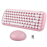 Wireless Keyboard and Mouse Combo, 2.4 GHz Wireless, Lovely Round Key, Full-Size Keyboard and Mouse Set-Pink