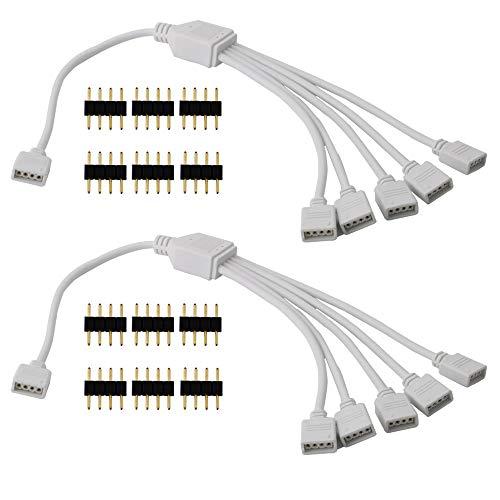 CESFONJER LED 4 Pin Splitter, 1 a 5 Puerto Divisor de Tira de LED Tira Divisor Cable Divisor de RGB para el LED de Color Cambio de Tira del RGB (2 Piezas)