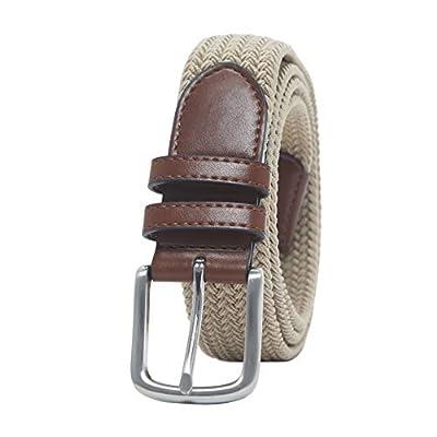 Amazon Essentials Men's Stretch Woven Braid Belt, Khaki, 42