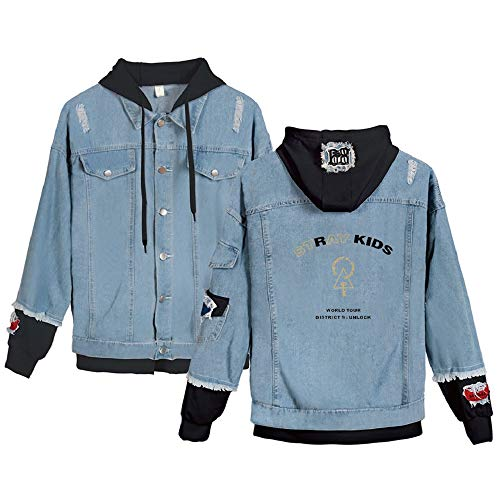 Xsayjia KPOP Stray Kids Jeansjacke Mit Kapuze Drucken Beiläufig Outwear Mode Hooded Sweatshirts Bang Chan Changbin Hyunjin Felix Seungmin Jeongin Jisung Minho Woojin