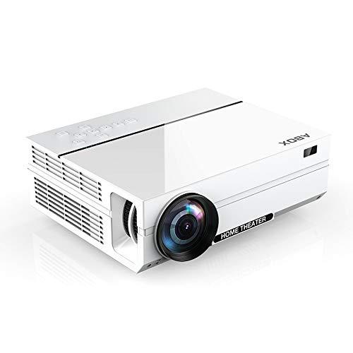 ABOX 4000 Lumen Beamer, Native 1080p (1920 x 1080) LED Videoprojektor tragbarer Full HD, unterstützt HDMI USB SD VGA AV Laptop,Smartphone perfekt für Fußballspiele,Filme-Weiß