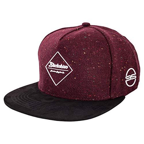 Blackskies Ares Snapback Cap | Herren Damen Schirm Premium Baseball Mütze Kappe Wolle Fischgräten - Weinrot Schwarz