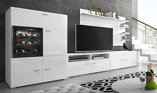 Home Innovation - Ensemble de meubles, meuble de salon unité murale, Meuble bas TV, salle à manger, ensemble de séjour Contemporain avec cave à vin, réfrigérateur La Sommelière. Laqué blanc et mat blanc, dimensions : 295 x 175 x 57/40 cm de profondeur.