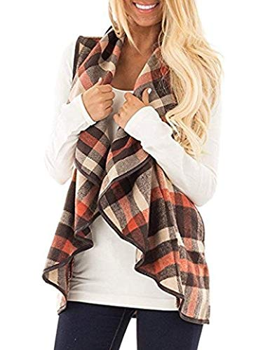 Unidear Womens Plaid Open Front Casual Cardigan Sleeveless Patch Draped Outwear with Pockets Brown S (Apparel)