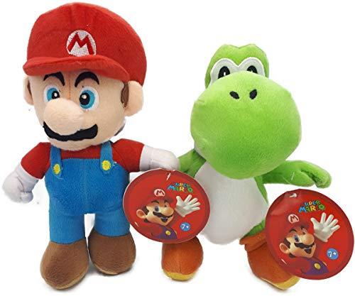 Super Mario/Nintendo 28S3 Mario (30 cm) & Yoshi (27 cm) Plüschtier, Original, 2 Figuren erhältlich (2 Stück Super Mario & Yoshi), (Rot & Blau) (Grün & Weiß)