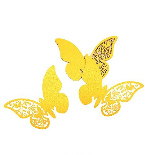 ElecMotive 100 Pcs Schmetterling Trichterwinde Tischkarten Namenskarten Glasanhänger Wandsticker für Tischdeko Hochzeit Party Haus Deco (Gold)