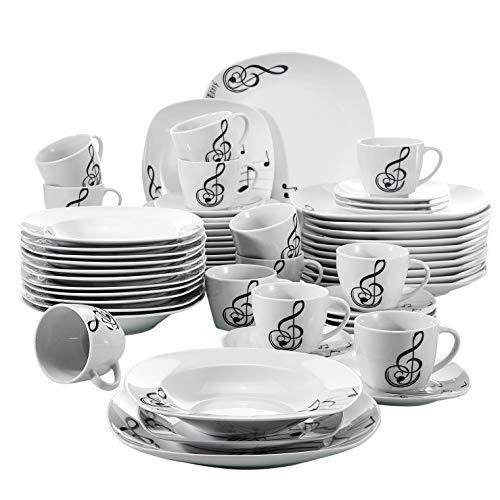 VEWEET Melody Juegos de Vajillas 60 Piezas de Porcelana con 12 Taza...