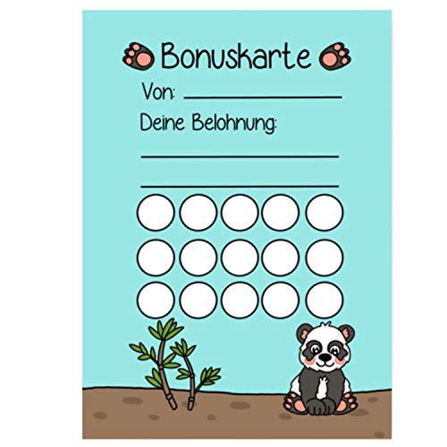 5X Bonuskarten Panda DIN A6 Belohnungssystem Kinder für Jungen Mädchen Punkte sammeln Belohnungstafel Fleißkärtchen Fleißkarte Töpfchentraining Hausaufgaben Hausarbeit Stempelkarte Punktekarte