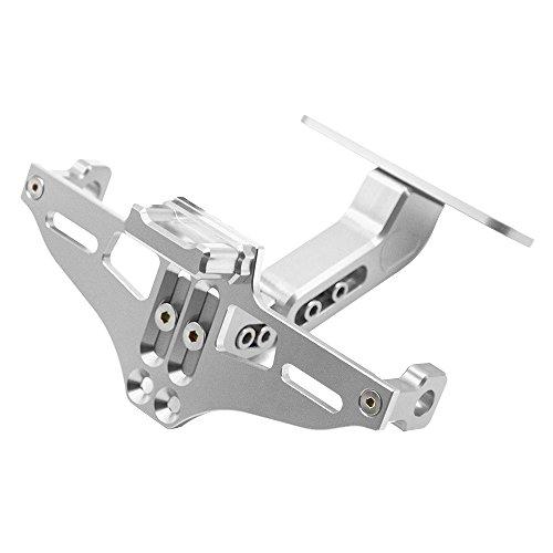 Universal CNC Aluminum Motorrad Kennzeichenhalter Halter für MT-01 MT-03 MT-07 MT-09 MT-10 Für Kawasaki Z750 Z800 Z1000 CBR600 CBR750 CBR1000 (Silber)