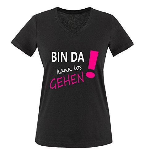 Comedy Shirts - Bin da kann los gehen! - Damen V-Neck T-Shirt - Schwarz/Weiss-Pink Gr. L