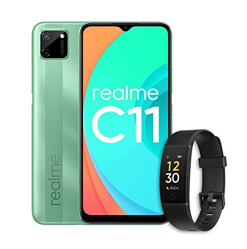 "realme C11 (Mint Green) con realme Band (Negra) - Smartphone de 6.52"", 2 GB de RAM + 32 GB de ROM, Procesador Gaming MediaTek Helio G35, Doble cámara de 15MP, Dual Sim"