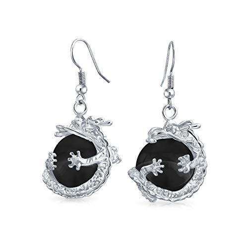 Arc-en-ciel de cristal mode Pierres Opalite balle ronde translucide Dangle Earrings Dragon asiatique Orb pour les femmes pour les jeunes