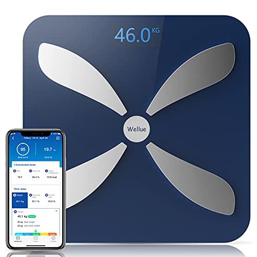 Báscula de grasa corporal con Bluetooth de Wellue, báscula inteligente para peso con aplicación, báscula de baño digital para IMC, análisis de composición corporal de 16 medidas, monitor de sa