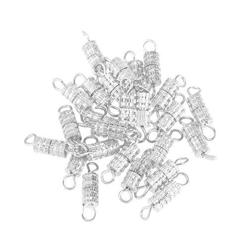 SuPVOX - 20 barrette a vite, chiusura a vite, chiusura a vite, per bracciale, collana Jewerly Making (argento)