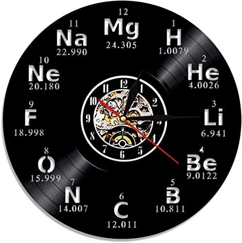 RFTGH Elemento químico Reloj de Pared Tabla periódica Reloj de Pared iluminación Silueta lámpara de Pared retroiluminación LED Regalo química Estudiante Profesor