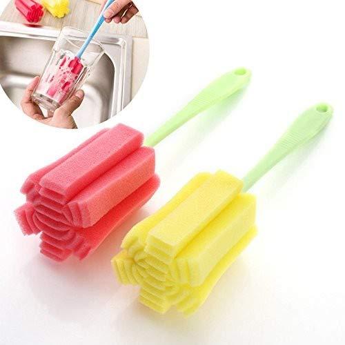ALWWL 5pcs Cup Flaschenbürste, Flaschenbürste, Flasche Reinigungsbürsten, Schwamm Sponge Pinsel für Glas, Küche Reinigung Tools, mit Stiel, zufällige Farben