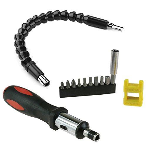Flexible Shaft Bits Extention Screwdriver Drill Bit Holder + Screwdriver Magnetizer Demagnetizer + Magnetic Ratcheting Screwdriver Handle+ Screwdriver Head Set