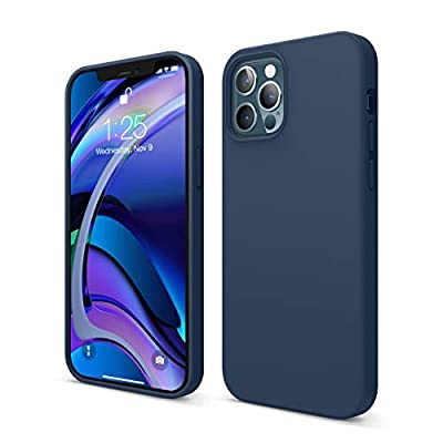 elago Liquid Silicone Case Compatible with iPhone 12 and Compatible with iPhone 12 Pro 6.1 Inch (Blue) - Full Body Protection (Screen & Camera Protection)
