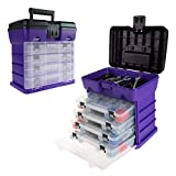 Storage and Tool Box-Durable Organizer Utility Box-4 Drawers with 19 Compartments Each for Hardware, Fish Tackle, Beads, and More by Stalwart (Purple)