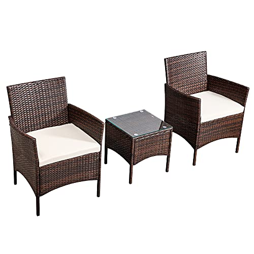 Fit4home Garden Furniture Set with Cushions 3 Piece Rattan Wicker Waterproof/Weatherproof Table and 2 Chairs for Indoor Outdoor Patio Conservatory | RJ6028 Brown
