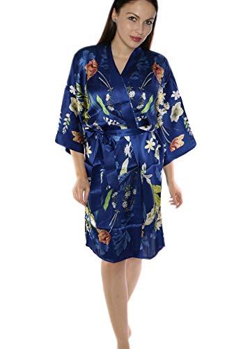 prettystern Damen Knie-lang Seide Kimono Wickel-Kleid Morgenmantel Robe Floral Print Blau Sommer-Garten K09