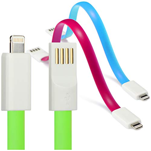com-four® Cable de Carga USB 3X Lightning, Cable de Carga rápida magnético Corto y Cable de Datos, 8-Pin es Compatible con iPhone, iPod, iPad [la selección varía]