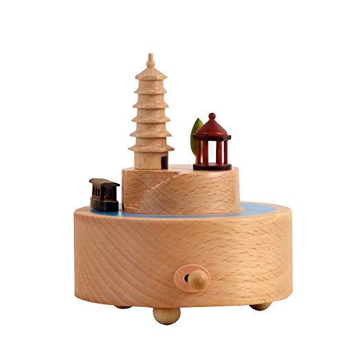 VSander Courtyard Tower Hölzerne Spieluhr Clockwork Drive Buche Kinderhandwerk Kreative Geschenke Geburtstagsgeschenk Reine Musik