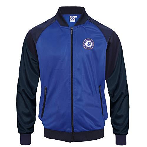 FC Chelsea Herren Retro-Trainingsjacke - Reißverschluss - Polyester - Dunkelblau & Royalblau - L