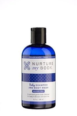 Nurture My Body Fragrance Free Organic Baby Shampoo and Body Wash SLS and Phthalate Free- Sensitive Skin, 8 oz./240 ml